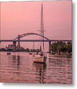 Boats Heading Out At Sunset To Watch Fireworks Metal Print