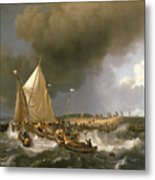 Boats In A Storm  Metal Print