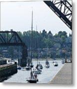Boats In Ballard Locks Metal Print
