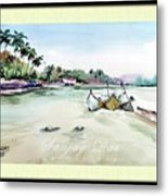 Boats In Beach Metal Print