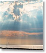 Boats In God Rays Metal Print