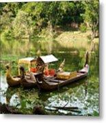 Boats In Lake Ankor Thom Metal Print