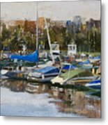 Boats In Montrose Harbor Metal Print