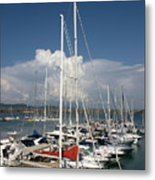 Boats In Port Tuscany Metal Print