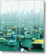 Boats In The Bay Metal Print by Russ Harris