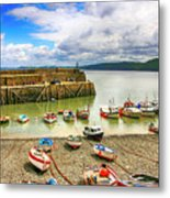Boats In The Harbor At Clovelly In Devon Metal Print