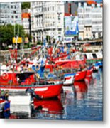 Boats In The Harbor - La Coruna Metal Print