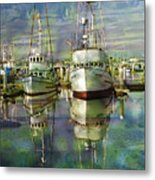 Boats In The Harbor Metal Print by Ron Hoggard