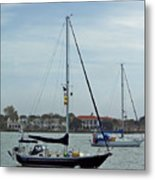 Boats In The Inlet Metal Print