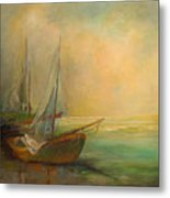 Boats In The Mist Metal Print