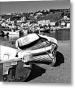 Boats In The Mykonos Old Port Mono Metal Print by John Rizzuto