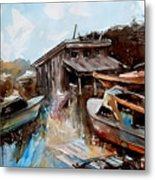 Boats In The Slough Metal Print