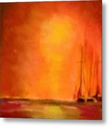 Boats In The Sunset Metal Print