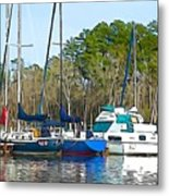 Boats In The Water Metal Print
