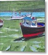 Boats Low Tide Emsworth Metal Print