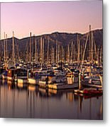 Boats Moored At A Harbor, Stearns Pier Metal Print