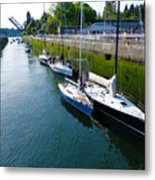 Boats Moving Into Chittenden Locks Seattle Metal Print
