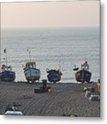 Boats On Beach Metal Print