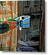 Boats On Canal In Venice Metal Print