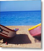 Boats On The Beach, Aguadilla, Puerto Metal Print