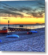Boats On The Beach At Branscombe  Metal Print