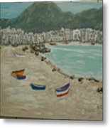 Boats On The Beach In Spain Metal Print