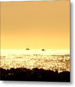 Boats On The Golden Horizon Metal Print