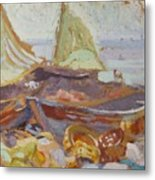 Boats On The Shore Metal Print