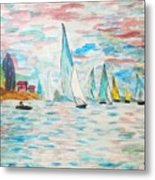 Boats On Water Monet  Metal Print