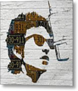 Bob Dylan Minnesota Native Recycled Vintage License Plate Portrait On White Wood Metal Print