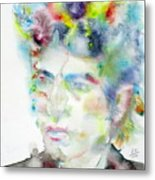 Bob Dylan - Watercolor Portrait.4 Metal Print