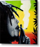 Bob Marley Smoking Metal Print