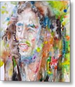 Bob Marley - Watercolor Portrait.17 Metal Print