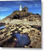 Bob's Cave At Mumbles Lighthouse Metal Print