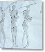 Body Sketches With Umbrella Metal Print