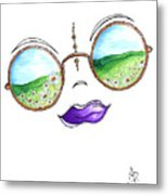 Boho Gypsy Daisy Field Sunglasses Reflection Design From The Aroon Melane 2014 Collection By Madart Metal Print