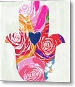 Bold Floral Hamsa- Art By Linda Woods Metal Print