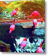 Bold Modified Flamingoes Metal Print
