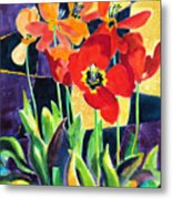 Bold Quilted Tulips Metal Print