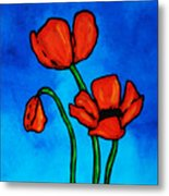 Bold Red Poppies - Colorful Flowers Art Metal Print