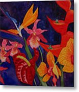 Bold Tropical Flowers Metal Print