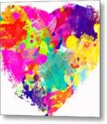 Bold Watercolor Heart - Digital Art Metal Print