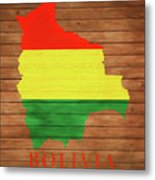 Bolivia Rustic Map On Wood Metal Print