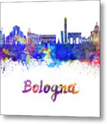 Bologna Skyline In Watercolor Metal Print