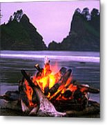Bonfire On The Beach, Point Of The Metal Print