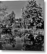 Bonneyville Grist Mill          Black And White        Autumn        Indiana Metal Print
