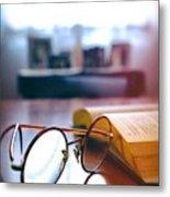 Book And Glasses Metal Print
