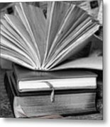 Books In Black And White Metal Print