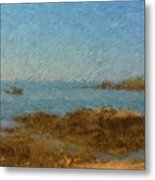 Boothbay Calm Day Ocean View Metal Print
