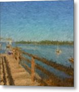 Boothbay Front Ocean View At Sunrise Metal Print